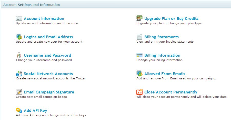 Account Settings and Information page