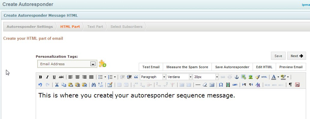 Create the actual Autoresponder Message Now