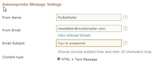 Autoresponder Message Settings