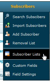 Create a new email list drop down menu