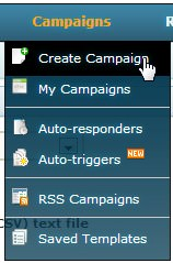 Create campaign menu dropdown