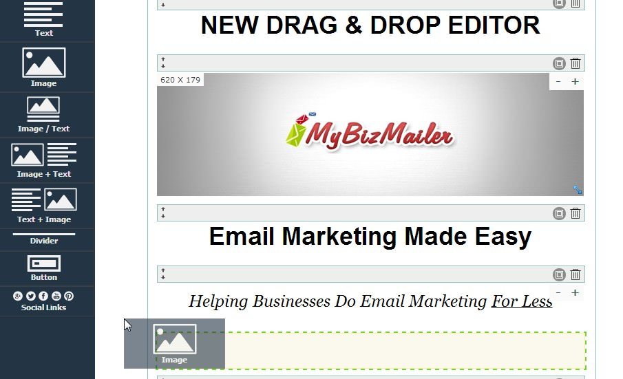 The New MyBizMailer Drag & Drop Editor