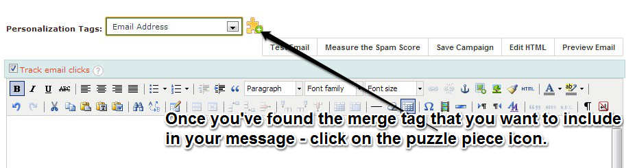 Placing a merge tag in the message of your campaign