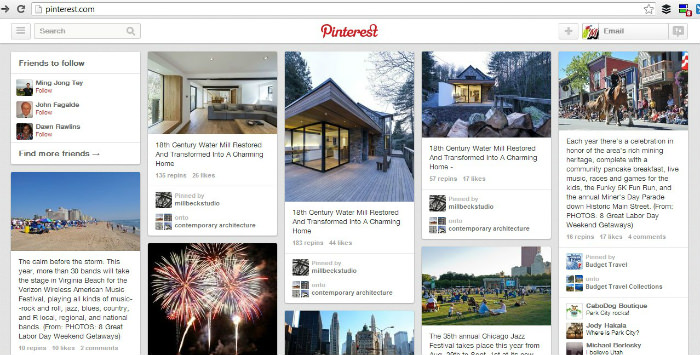 Pinterest front page