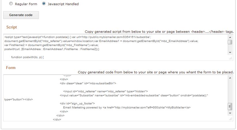 MyBizMailer platform independent form script
