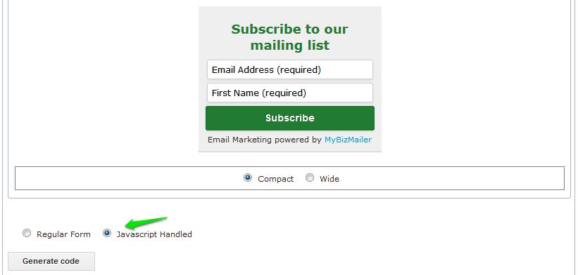 MyBizMailer platform independent form