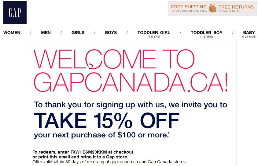 The Gap - Welcome Email